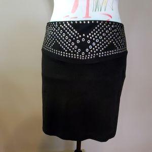 Black studded skirt nwt,
